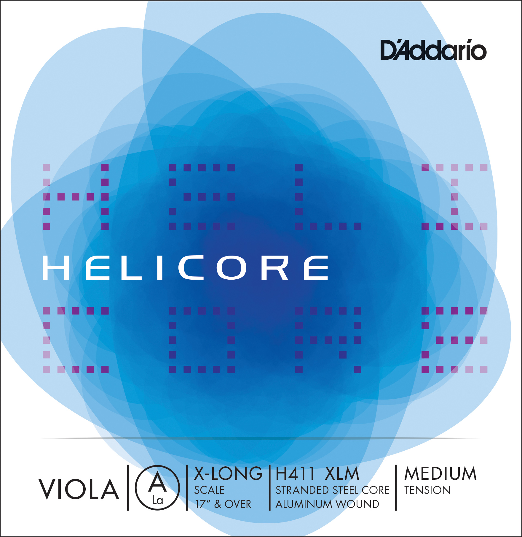 D'Addario Helicore Viola Single A String, Extra Long Scale, Medium Tension
